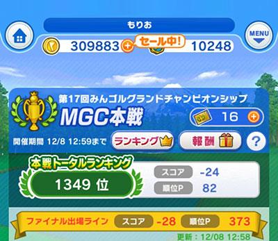 第17回みんゴルMGC本戦最終順位は1349位で終了のイメージ画像