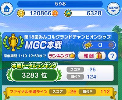 第18回みんゴルMGC本戦は3283位で終了のイメージ画像