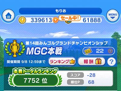 第14回みんゴルMGC本戦最終順位は7752位でファイナル出場ならずのイメージ画像