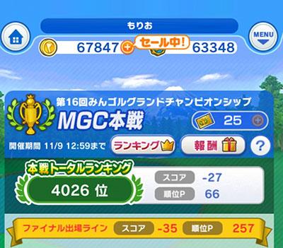 第16回みんゴルMGC本戦最終順位は4026位で終了のイメージ画像